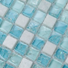 Crystal Glass Tile Backsplash Kitchen Design Crackle Crystal Glass & Stone Mosaic Tiles Marble Wall Stickers Bathroom Floor KS36