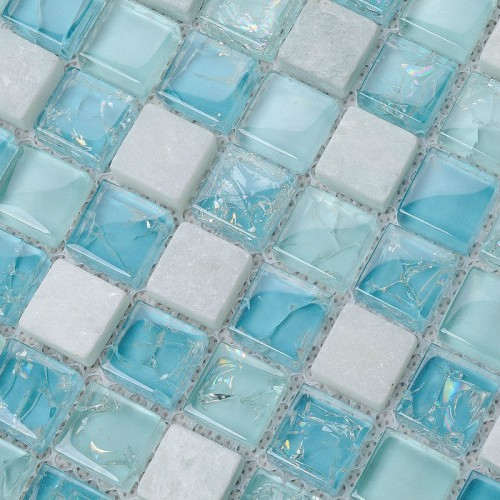 Crystal Glass Tile Backsplash Kitchen Design Crackle Crystal Glass & Stone Mosaic Tiles Marble Wall Stickers Bathroom Floor KS36