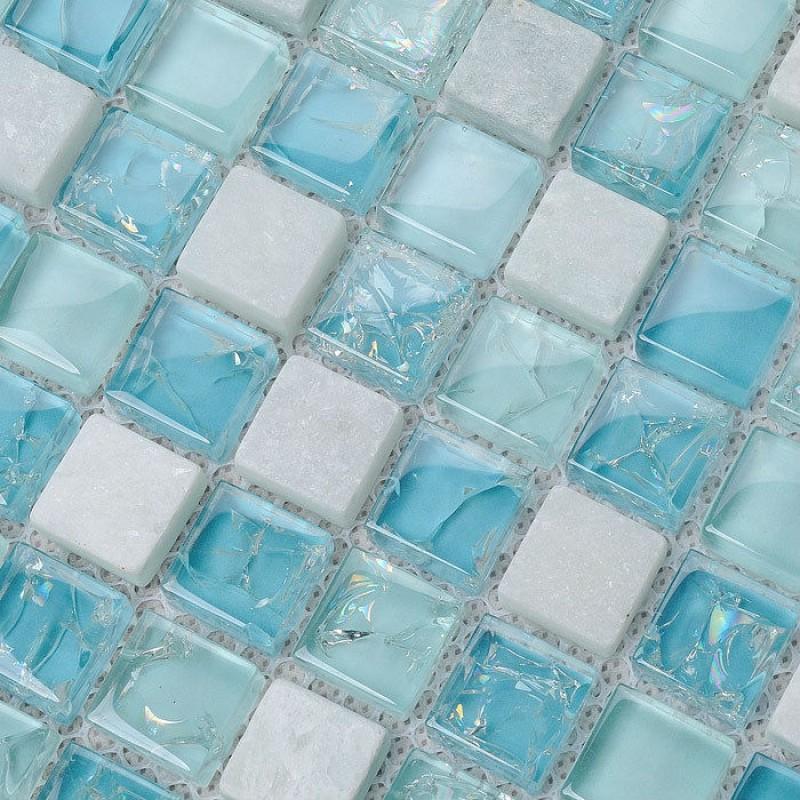 Crystal Glass Tile Backsplash Kitchen Design Crackle