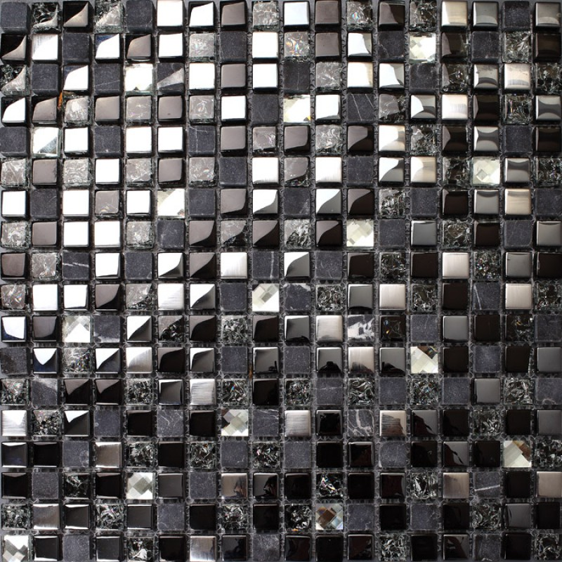 Crackle crystal mosaic diamond silver plating glass tile backsplash black marble tile Stone backsplash tile