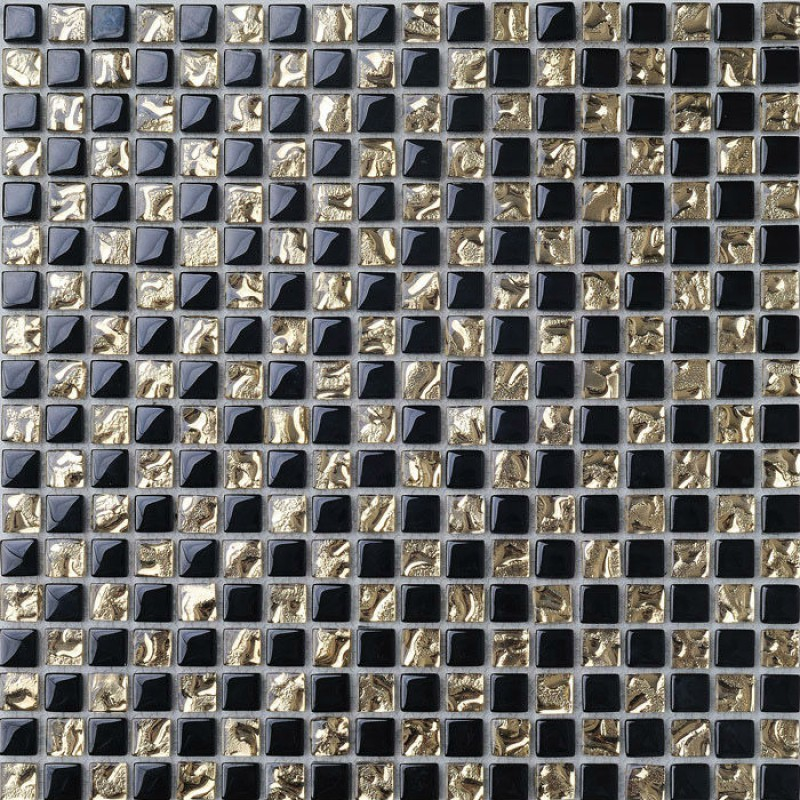 Crystal Glass Mosaic Tile Backsplash Gold & Black Blend