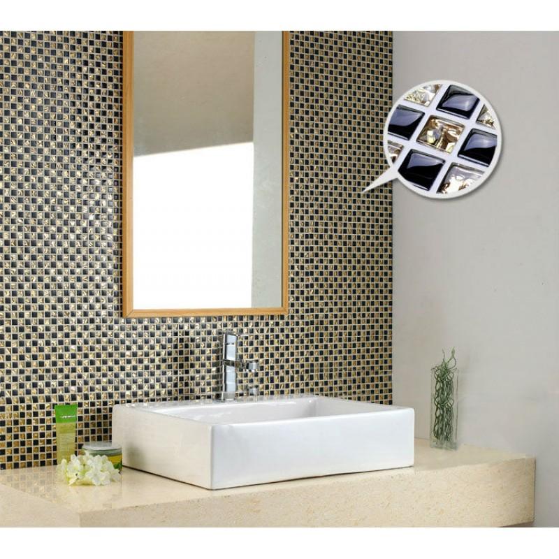 Crystal Glass Mosaic Tile Backsplash Gold Black Blend Random Plating Pattern Design Crystal Mosaics Kitchen Floor Tiles Kt80