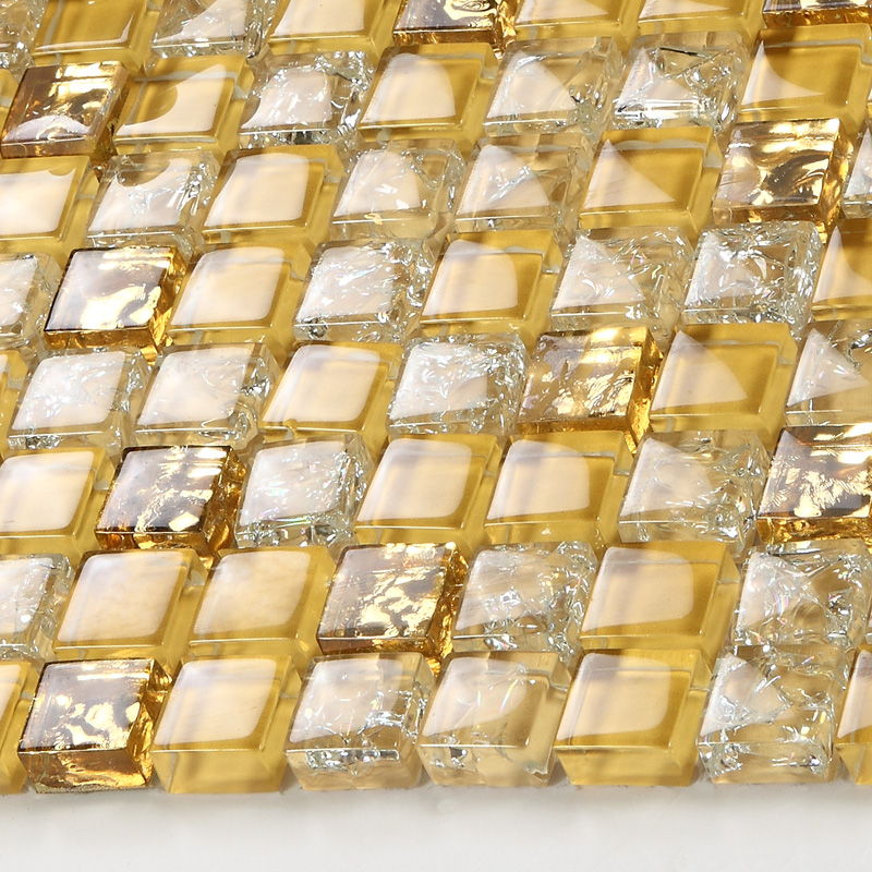 Crystal glass tile sheets ice crack square mosaic metal plated L309 ...