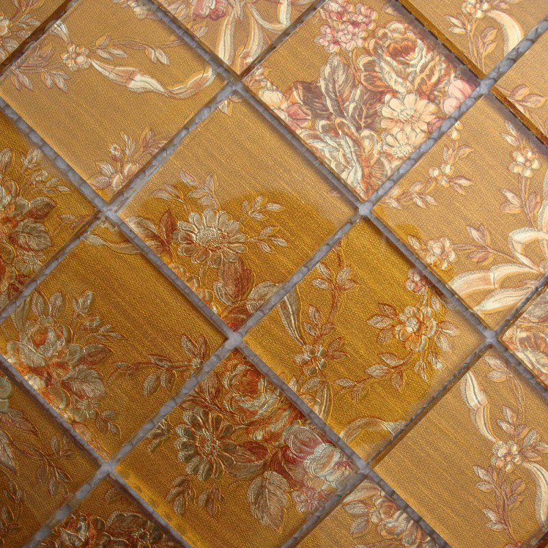 Glass Tile Backsplash Pattern Yellow Crystal Mosaic Brick Kitchen ...