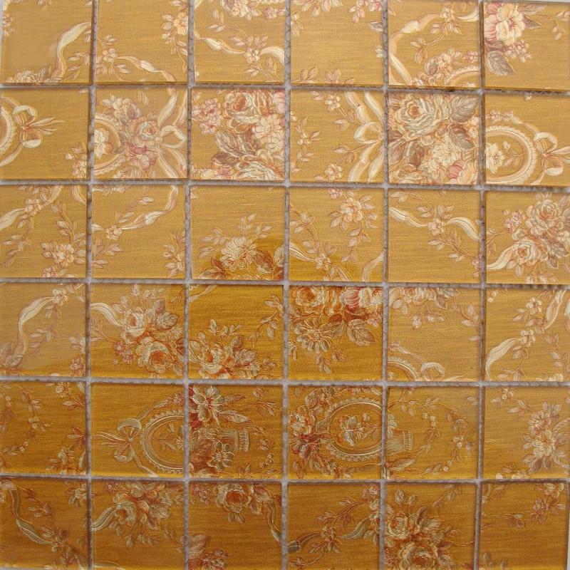 wholesale glass tile backsplash pattern yellow crystal