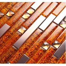 Metal diamond glass tiles for kitchen backsplash gold stainless steel mosaic tile interlocking crystal wall mirror bathroom shower designs LNST001