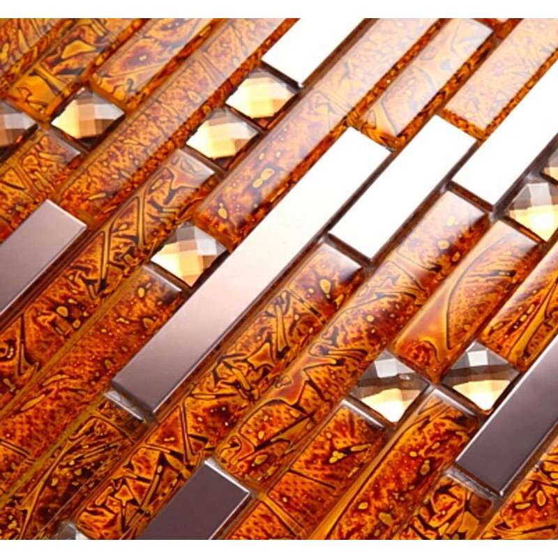Metal diamond glass tiles for kitchen backsplash gold Mosaic tile wall designs