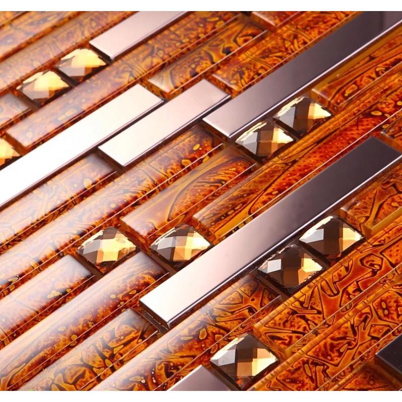 metal diamond glass tiles for kitchen backsplash gold