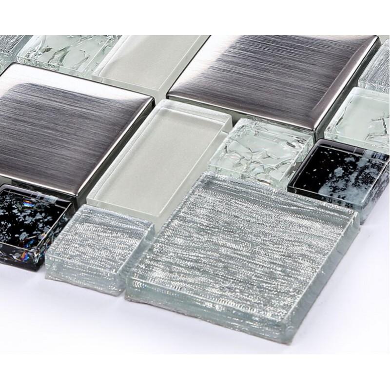 Crystal Glass Tile Backsplash Satin Patterns Silver Plated