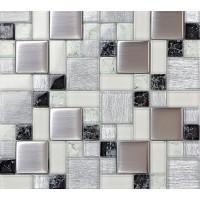 Crystal glass tile backsplash satin patterns silver plated glass brushed mosaic tiles for kitchen and bathroom shower tiles design PGLS53