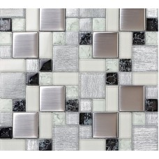 Crystal glass tile backsplash satin patterns silver plated glass brushed mosaic tiles for kitchen and bathroom shower tiles design PGLS53