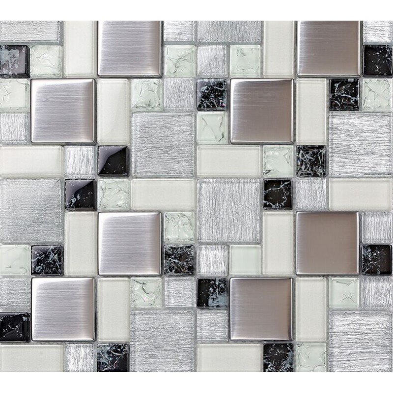 Crystal glass tile backsplash satin patterns silver plated for Kitchen backsplash tile patterns
