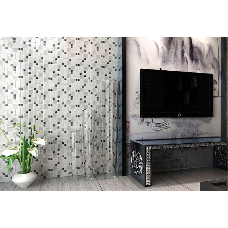 Silver Backsplash Tiles Part - 48: ... Crystal Glass Tile Backsplash Satin Patterns Silver Plated Glass  Brushed Mosaic Tiles For Kitchen And Bathroom