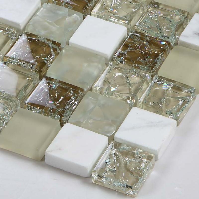 Crackle glass mosaic backsplash tiles frosted glass mixed - Frosted glass backsplash ...