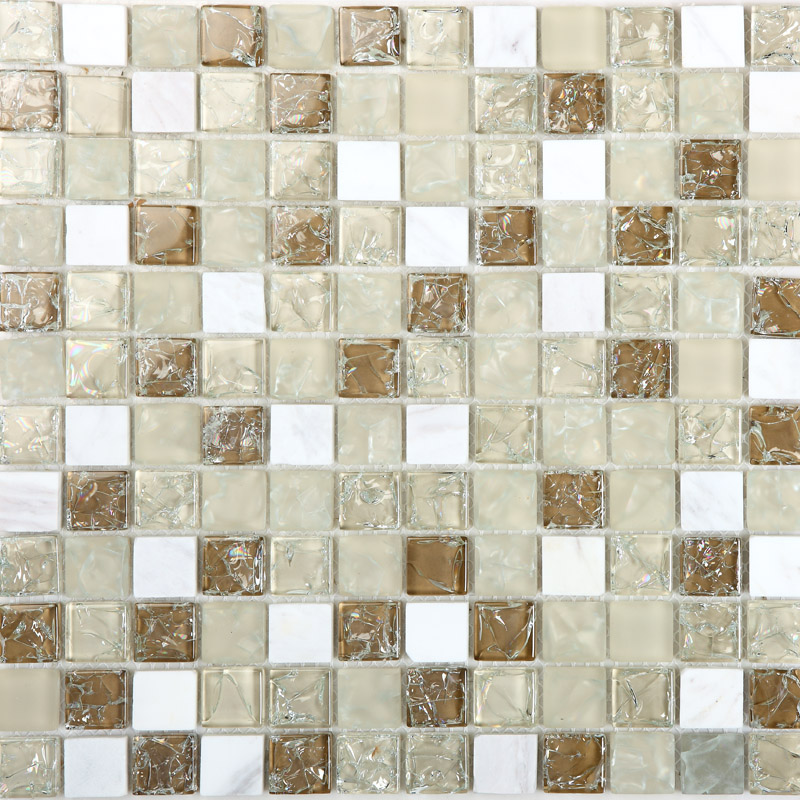 Crackle Glass Mosaic Backsplash Tiles Frosted Glass Mixed