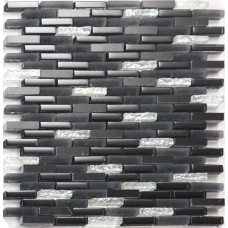 Strip glass and stone mosaic backsplash black and white subway tile sheets natural marble tiles for kitchen and bathroom SGA004
