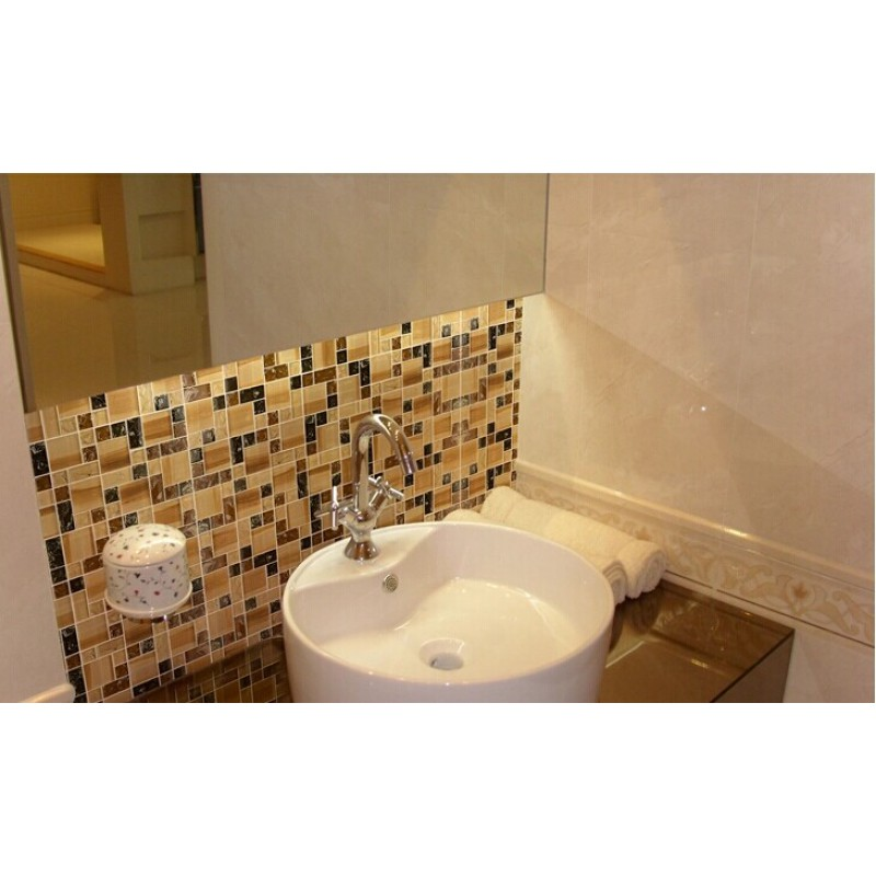 Crackle crystal glass tile backsplash cheap brown mosaics bathroom mirror wall tiles ma13 for Glass mosaic tile backsplash bathroom