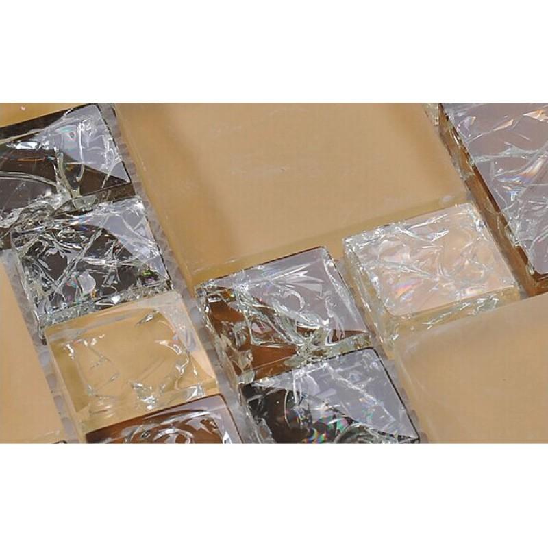Crackle Crystal Glass Tile Backsplash Cheap Brown Mosaics