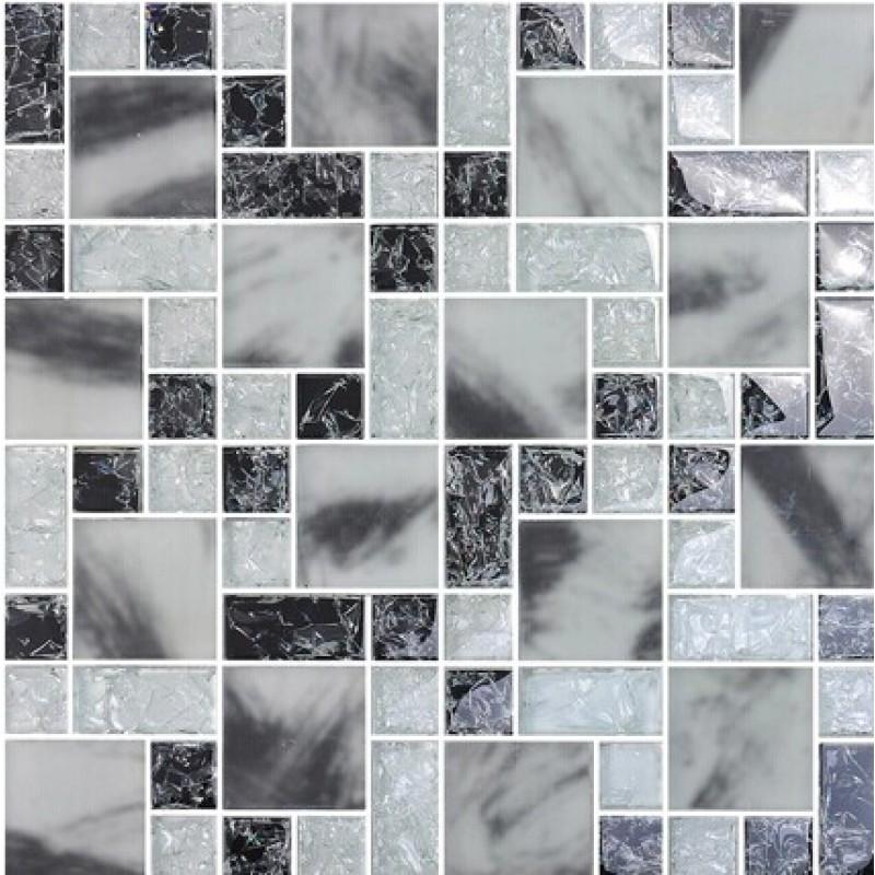 Le Crystal Gl Tile Backsplash Kitchen Countertop Mosaic Sheets Ed Ma14 Black White Mosaics