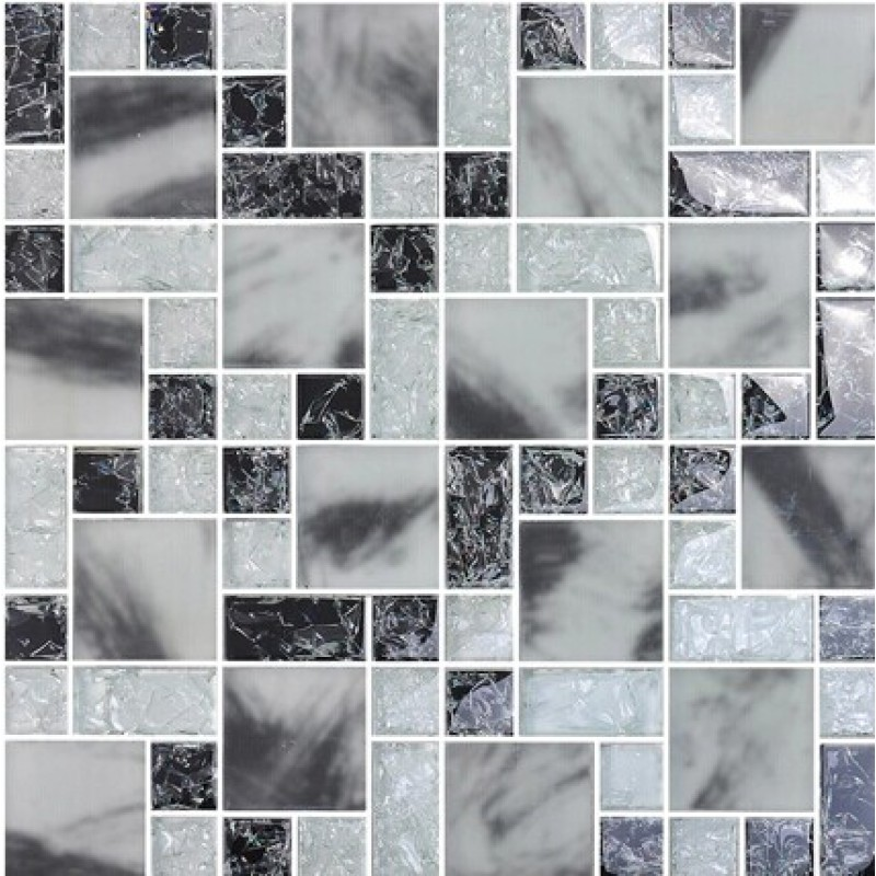 Crystal Glass Tile Backsplash Kitchen Crackle Glass Mosaic Tile Grey MA14  Bathroom Floor Sticker Mirror Decoration ...