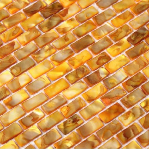 Freshwater shell subway tile mosaic shower bathroom stained gold designs mother of pearl tiles MB04 seashell deco mesh kitchen backsplash tiles