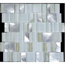 Crystal Mosaic Tiles Brush Stainless Steel & Glass Blend Random Metallic Mosaics Mesh Sheet Metal Kitchen Wall Backsplash MG007