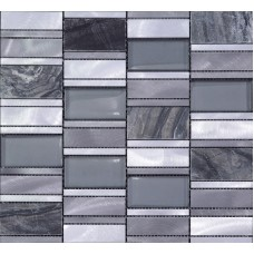 Stone Mosaic Tiles Emperador Dark Marble Floor Sticker Brush Stainless Steel Metal Tile Crystal Glass Backsplash Wall Tile MG012