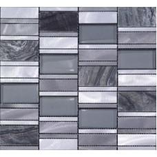 Stone Mosaic Tiles Emperador Dark Marble Floor Sticker Brush Stainless Steel Metal Tile Crystal Glass Backsplash Wall Tile MG012