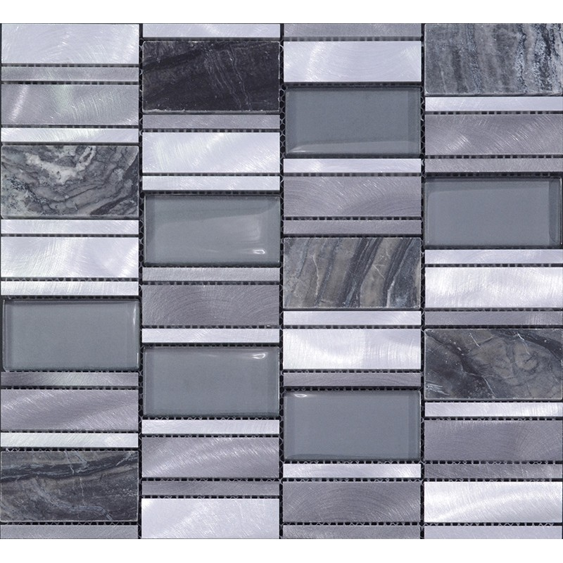 stone mosaic tiles emperador dark marble floor sticker brush stainless steel metal tile crystal glass backsplash wall