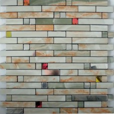 Metallic wall tiles kitchen backsplash stainless steel tiles MH-1598-1 diamond crystal glass metal mosaics aluminum tile sticker