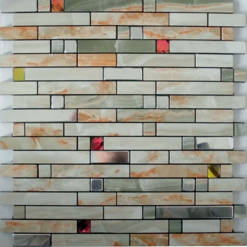 Metal Wall Tiles Kitchen Backsplash Red Crystal Glass Diamond Adhesive Mosaic