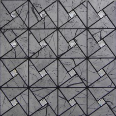 Wholesale Metallic Tile sheets Stainless Steel & Aluminum blend Mosaic Tiling Kitchen Diamond art Tiles Backsplash MH-ASJ-002