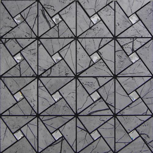 Wholesale Metallic Tile sheets Stainless Steel & Aluminum blend Mosaic Tiling Kitchen Diamond art Tiles Backsplash MH-ASJ-002