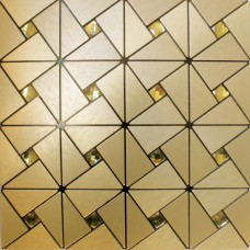 Golden Metallic Tile sheets Stainless Steel & Aluminum blend Mosaic Tiling Kitchen designs Diamond Tiles Backsplash MH-ASJ-003