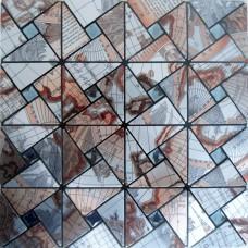 metal glass mosaic diamond globe  aluminum alucobond tile kitchen backsplash ACP MH-ASJ-004 triangle crystal mosaics globe bathroom wall tiles