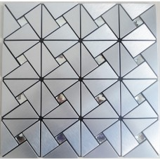 peel and stick tile brushed aluminum alucobond tile kitchen backsplash silver ACP MH-ASJ-005 crystal mosaics bathroom wall tiles