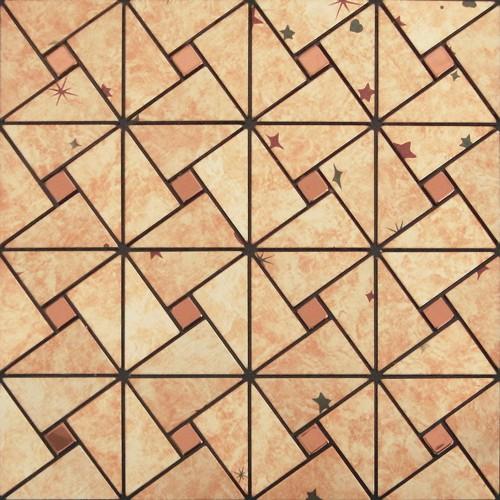 gold aluminum alucobond tile kitchen backsplash ACP metal mosaic wall tiles MH-ASJ-006 triangle metallic mosaics bathroom tiles