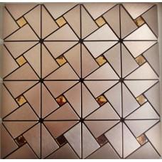 metal glass mosaic diamond brushed aluminum alucobond tile kitchen backsplash ACP MH-ASJ-007 triangle crystal glass mosaics bathroom wall tiles