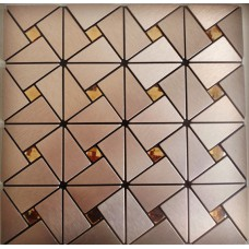 metal glass mosaic diamond brushed aluminum alucobond tile kitchen backsplash ACP MH-ASJ-007 triangle crystal glass mosaics bathroom wall tiles
