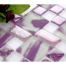 Crackle glass tile backsplash ideas bathroom cheap iridescent glass mosaic kitchen designs purple crystal glass bathtub wall tiles CGMH01