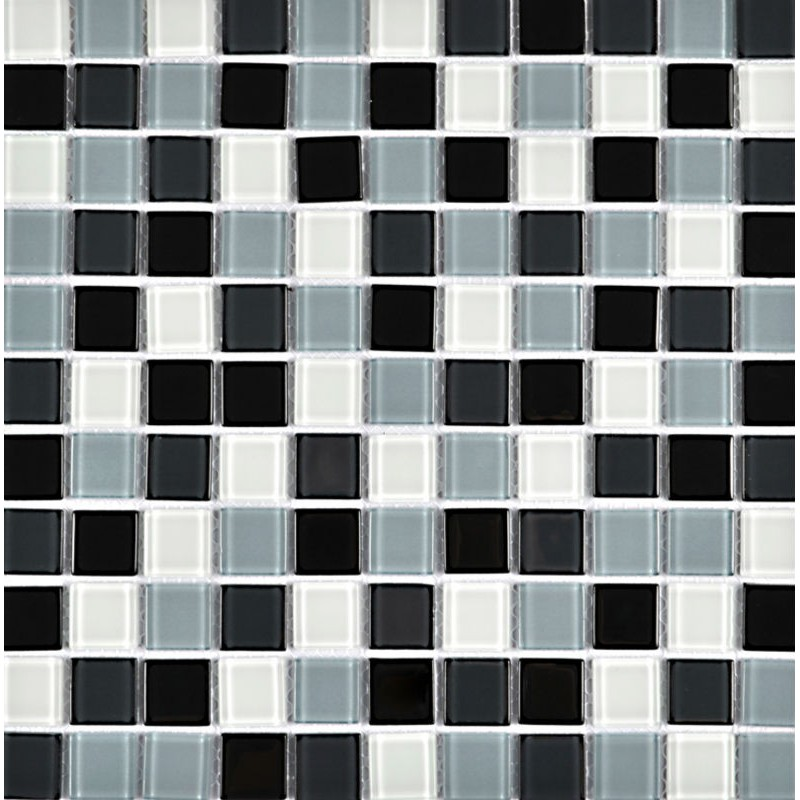 White and black glass mosaic tile for decorative kitchen for Swimming pool wall tiles