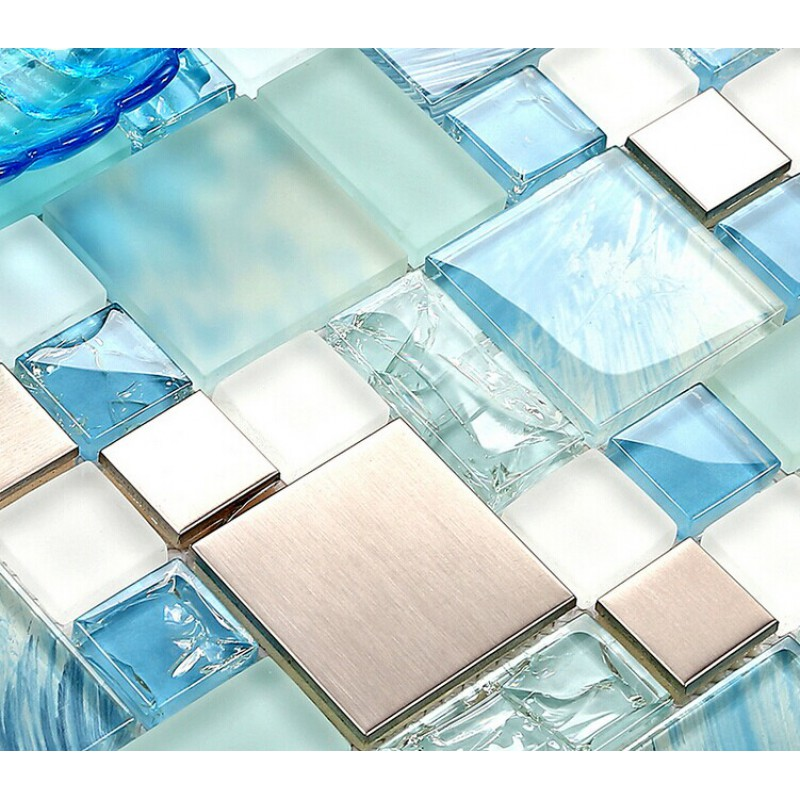 Blue glass mosaic sheets stainless steel backsplash
