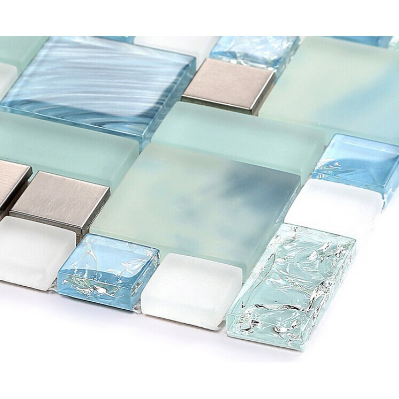 Blue glass mosaic sheets stainless steel backsplash for Blue crackle glass bathroom accessories