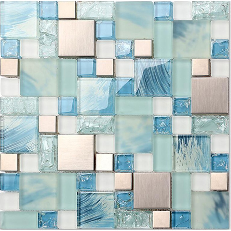 Blue Glass Mosaic Sheets Stainless Steel Backsplash Crackle Crystal Glass Tiles For Kitchen And Bathroom Metal