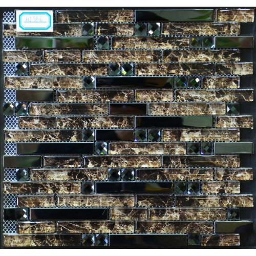 Black Stainless steel brown glass mosaic diamond tile kitchen back splash interlocking MGT986 bathroom shower designs metal crystal glass tiles