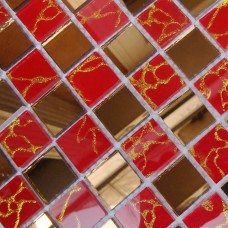 Crystal Glass Tile Mosaic Glass Mirror Tiles red Mirrored Wall stickers Bathroom Mirror Wall border Kitchen Backsplash MOSA13