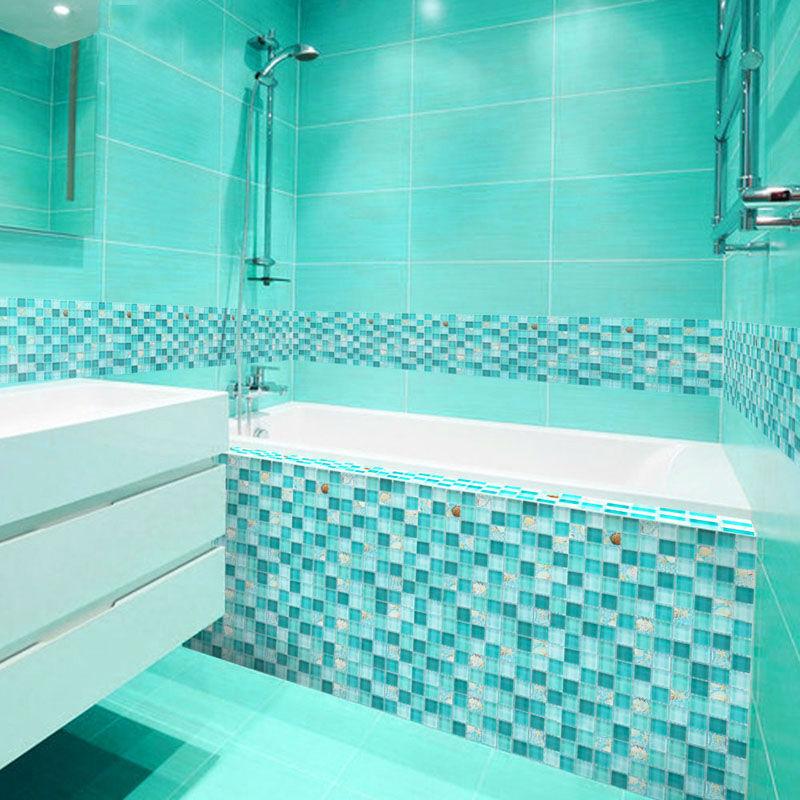 Glass Mosaic Backsplash Tiles Blue Crystal Glass Dissolved