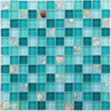 Glass Mosaic Backsplash Tiles Blue Crystal Glass Dissolved Shell Patterns Mother of Pearl Mosaics Shower Liner Wall Tile MTLP19