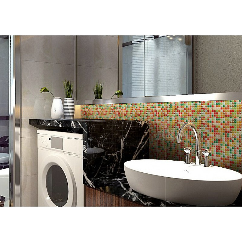 "Glazed Porcelain Tile 3/5"" Kitchen Backsplash Tiles Mixed"