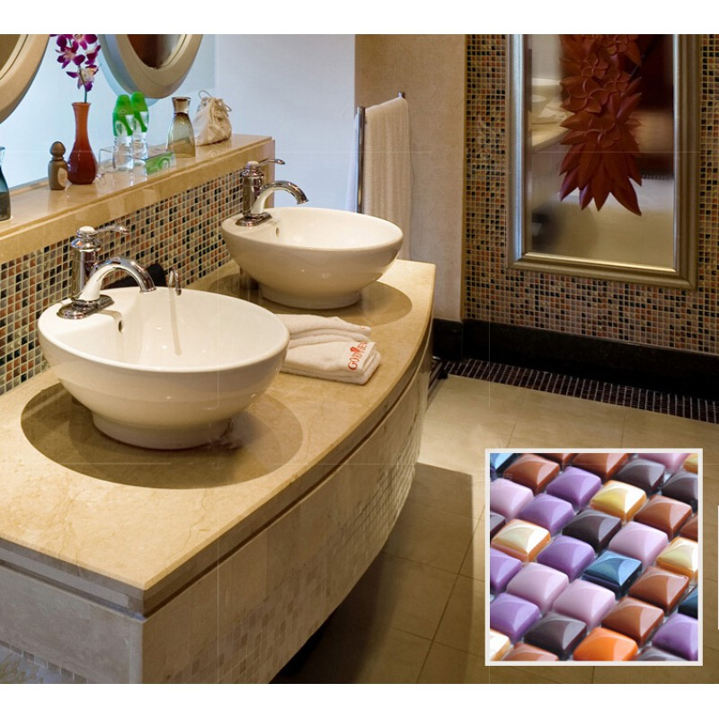 porcelain tile mosaic glazed ceramic bathroom mirror wall decor ...